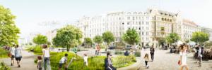 Panorama Visualisierung eines Parks beim Naschmarkt