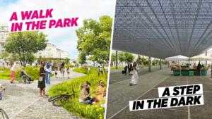 Gegenüberstellung: Links eine Visualisierung eines Parks beim Naschmarkt, rechts eine Überdachung