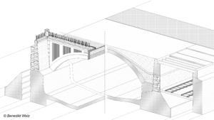 Querschnittsskizze des Gewölbes über dem Wienfluss