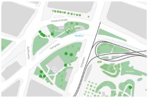 Karte des Bereichs zwischen Karlsplatzu und Secession